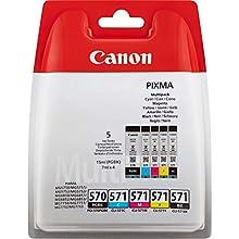 Canon 0372C004 Inchiostro, PGBK/Ciano/Magenta/Giallo/Nero, 5 Pezzi