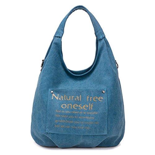 ZongSen Damen Beiläufig Leinwand Umhängetaschen Schule Tasche Einkaufstasche Braun Blau