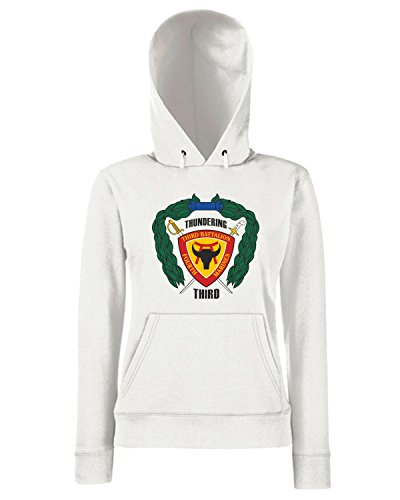 T-Shirtshock - Sweats a capuche Femme TM0336 3rd Battalion 4th Marine Regiment USMC usa Blanc