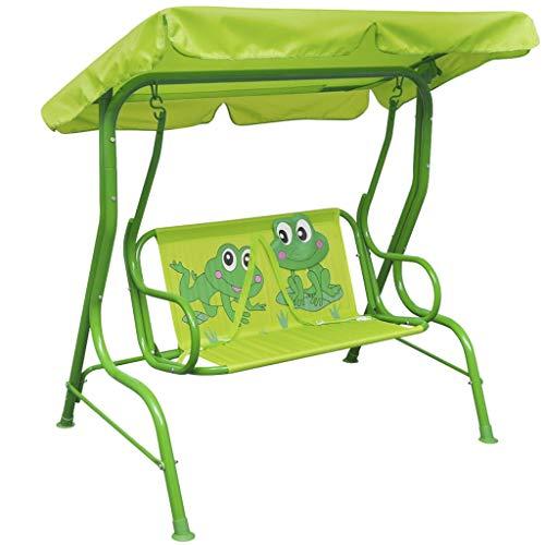 Vidaxl altalena per bambini in acciaio tessuto verde gioco da esterno dondolo