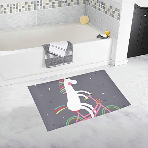 LMFshop Unicornio Lindo en Bicicleta Alfombra de baño Antideslizante Personalizada Alfombra de baño Alfombra de Piso Alfombra para baño 20 X 32 Pulgadas