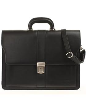 Bag Street Aktentasche Herren schwarz Kunstleder-Aktentasche Aktenkoffer Bürotasche mit Fee-Anhänger von SilberDream...