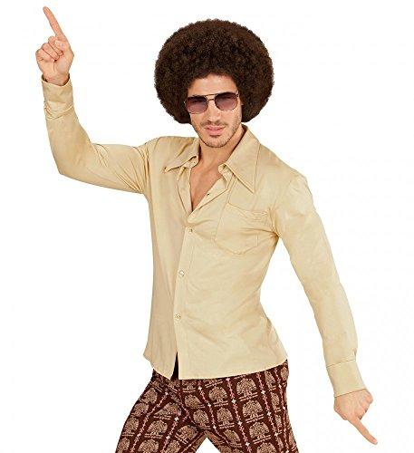 (70er Jahre Retro Hemd mit und ohne Muster Disco Herren Kostüm Siebziger Schlager, Größe:L/XL;Farbe:Beige)
