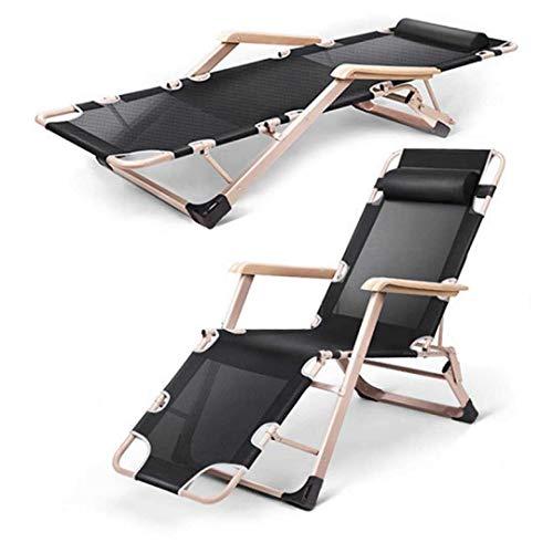 HhGold Verstellbare Schwerkraft Stuhl Liegesessel Kissen Strand, Büro, Pool Garten, schwarz, 2 Stück (Farbe : 2 Pack) -