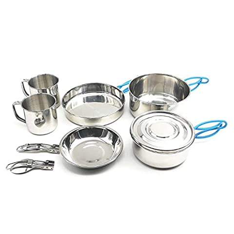 Camping Cooking, Stainless Steel Camping Cookware Mess Kit Backpacking Gear & Hiking Outdoors Bug Out Bag Cooking Equipment 11 Piece Cookset for 2 Person - Lightweight, Compact & Durable Pot