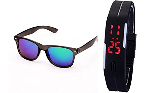 Sheomy Combo of Black Blue Mercury Wayfarer Sunglass and a LED Digital Black dial Watch with Magnet Lock Best Online Gifts