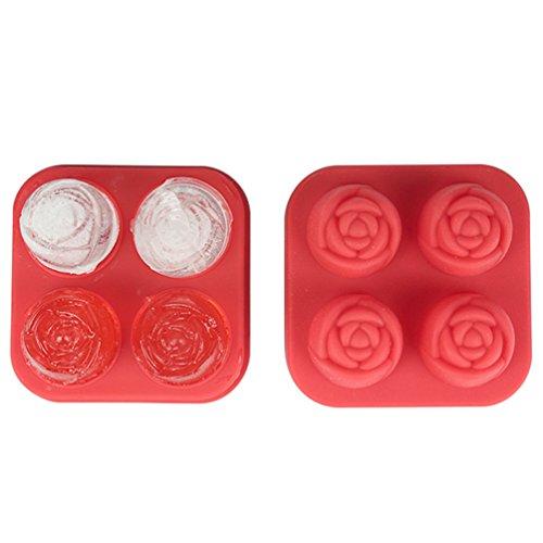 (3D Rose Eiswürfelform Mit Deckel, OIZEN 2er Pack Eiswürfelbereiter Lebensmittel Grade Silikon Flexible Eis Würfel Schokolade Süßigkeiten Schimmel Trays, Perfekte Für Kinder Halloween Geschenke, BPA Frei)