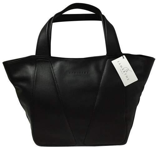 a1c30aae370 Lamarthe Paris - Bolso de tela de piel auténtica para mujer negro negro