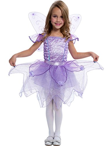Kinder Lila Fee Prinzessin Mädchen Kostüm Karneval Fasching Verkleidung (Lila Prinzessin Kostüm Kind)