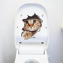 Blendx ?3D niedliche Tiere Katze Hund abnehmbare Bad WC Sitz Wand Aufkleber Tapete Katze