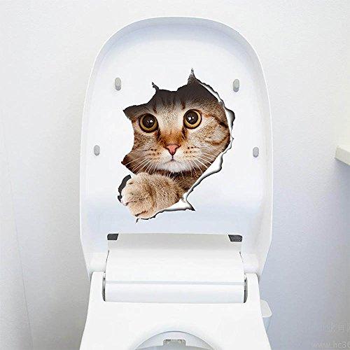 Preisvergleich Produktbild Blendx 3D niedliche Tiere Katze Hund abnehmbare Bad WC Sitz Wand Aufkleber Tapete Katze