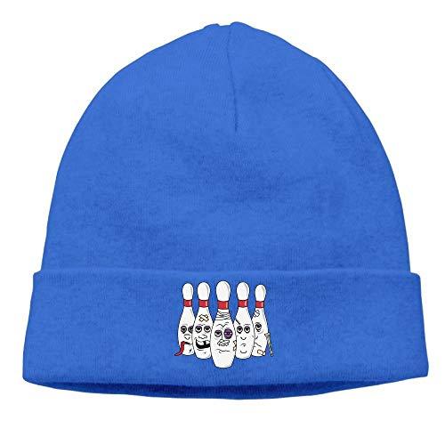 ASKYE Mens Funny Bowling Elastic Jogging Royalblue Beanies Caps Hats Satin Wool Cap