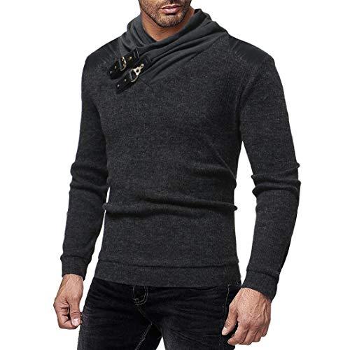ZIYOU Langarm Sweatshirt Herbst Winter, Herren Streetwear Pullover Basic Rundhals Hemd T Shirts Tops für Männer(3XL,Dunkelgrau)