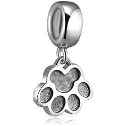 Impresión de la pata del perro Soulbead holyskinz 925 plata esterlina para pulsera Europea de la joyería