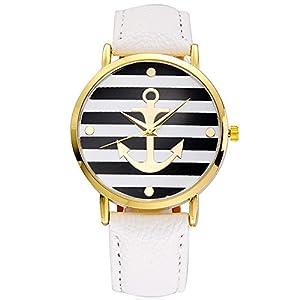 SAMGU Frauen Quarz Streifen Uhren Weiß