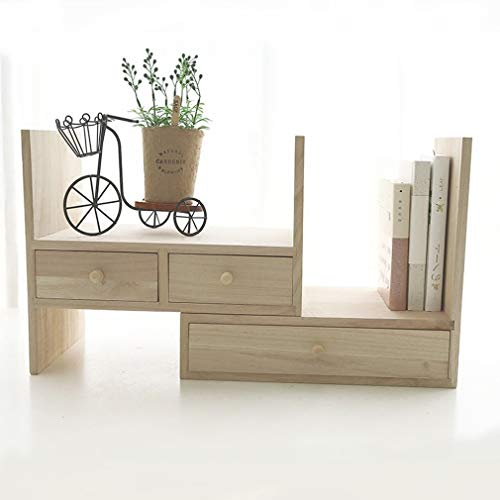 esktop-Speicher-Organisator-Display-Regal, Counter Top Bücherregal, Beige mit DREI Schubladen ()