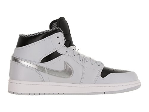 Nike Herren Air Jordan 1 Mid Turnschuhe, Schwarz, Talla Silber
