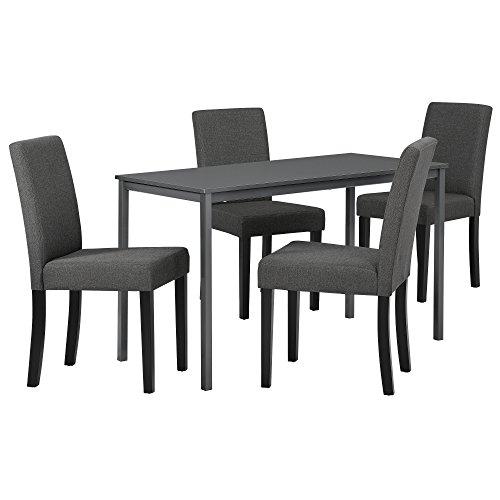 [en.casa] Hochwertiger Esstisch in dunkelgrau mit 4 dunkelgrauen Designer-Stühlen - 120cm x 60cm