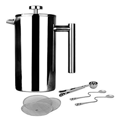 French Press Cafetiere   Stainless Steel Coffee Press Maker   FREE Extra Filters / Measuring spoons / Bag Clip   Double Walled Insulation   7pc Coffee Gift Set   M&W 350ml