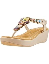 01782705f DENGBOSN Sandalias Mujer Verano Bohemia Sandalias Cuña Plataforma  Antideslizante Casual Zapatos de Playa Negro Beige 35