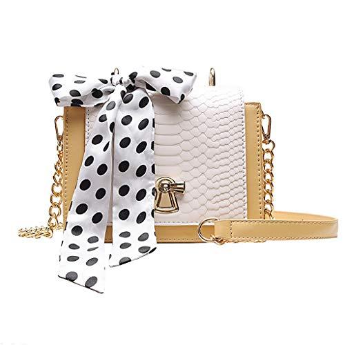 KIMODO Damen Handtasche Schal Decor, Neue Frauen Elegante Messenger Bag Tote Henkeltasche Korean Fashion Kleine Haspe Schultertasche Umhängetasche -