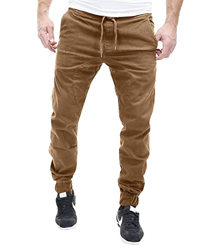 MODCHOK Herren Jogginghose Cottonhose Cargo Hose Chino Freizeithose Sweatpants Regular Fit Khaki M