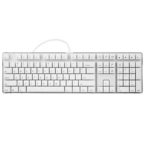 Preisvergleich Produktbild Mechanische Gaming-Tastatur GATERON Brown Switch Verdrahtete weiße Hintergrundbeleuchtung 108 Tasten Weiße Tastenkappen mit schwarzem Charakter Standard-Layout Magicforce von Qisan