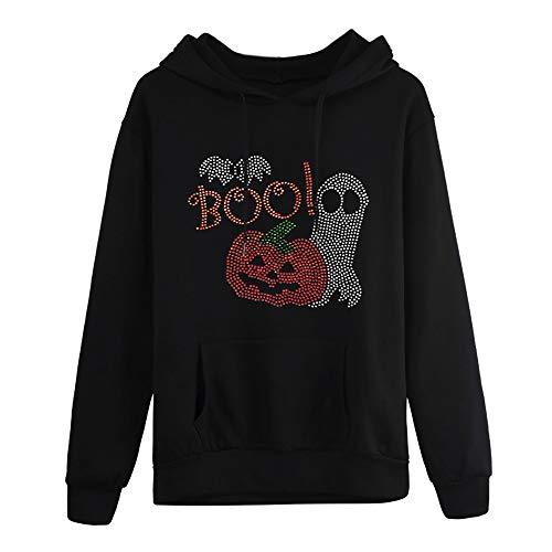 TOPKEAL Halloween Plus Größe Langarm Tasche Hoodie Pullover Damen Herbst Winter Kapuzenpullover Sweatshirt Winterpullover Neck Jacke Mantel Tops Mode 2018