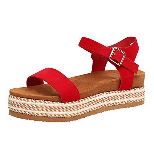 Sandalen Sommer,Sandalen Damen Elegant Espadrilles-Sandalen Flach Peep Toe Bequeme Plateauschuhe ()
