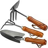 com-four® 3-teiliges Gartenset mit ergonomisch geformten Holzgriff bestehend aus Doppelhacke, Kleingrubber und Blumenkelle (03-teiliges Gartenset)