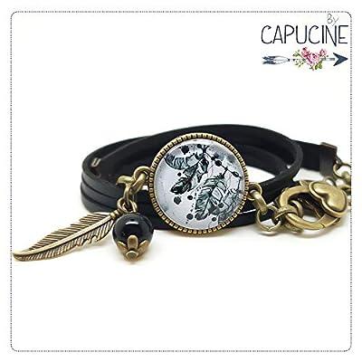 Bracelet noir plumes avec cabochon verre - Bracelet breloques bronze - Bracelet multi-rangs - Bracelet Attrape Rêves - Cadeau pour elle, cadeau de Noël, Saint Valentin, anniversaire
