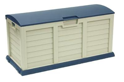 03-811 Auflagenbox Kissenbox Gartentruhe beige blau