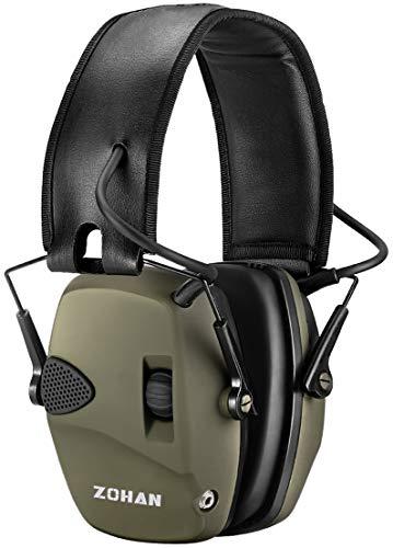 Gehörschutz Schiessen Elektronisch von ZOHAN, Schießstand Gehörschützer, Aktiver Ohrenschützer Lärmdämpfung für Jagd, NRR22dB SNR 27dB, Grün(KEIN Tasche) MEHRWEG