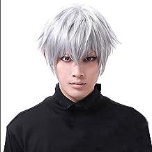 leading-star Tokyo Ghouls Ken Kaneki Cosplay Wig Mens Short Halloween Party Wigs by leading-star