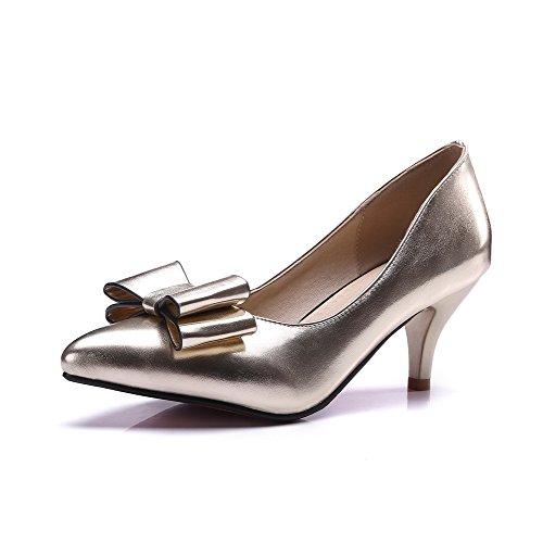 VogueZone009 Femme Tire Pu Cuir Pointu à Talon Correct Couleur Unie Chaussures Légeres Doré