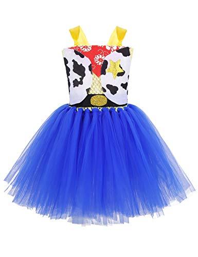 YiZYiF Vestido Vaquera Niñas Disfraz de Cowgirl Vestido Princesa de Cuento de...
