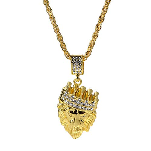 Goldkette Herren,LUCKDE Ketten Männer Statement Halsketten Kettenanhänger Löwe Gold Chain Hip Hop Anhänger Necklace (GD)