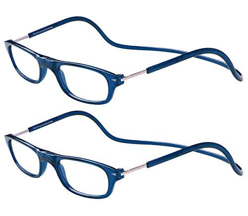 TBOC Pack: Lesebrille Lesehilfe für Herren Damen - (Zwei Einheiten) Dioptrien +2.50 Blau Fassung Stärke PC Handy Faltbar Frau Mann Magnetverschluss Clip Alterssichtigkeit Presbyopie