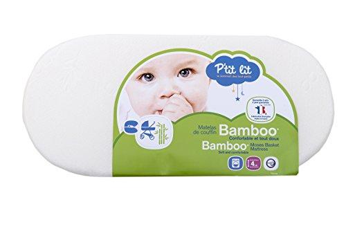 P'tit Lit - Matelas de couffin Bamboo - 32 x 72 x 4 cm - Viscose Absorbante Douce Respirante...