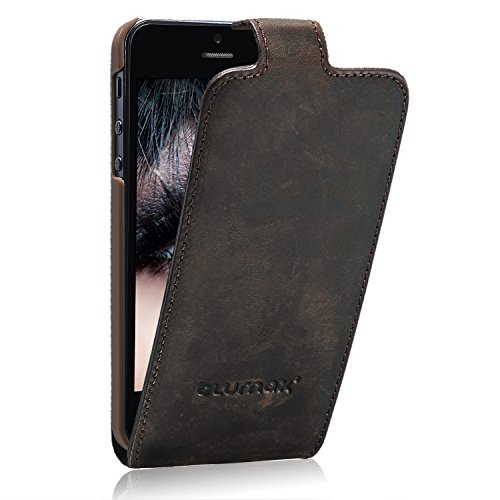 D'origine Blumax ® ultraslim flip étui en cuir brun antique Apple iPhone Protector 5 cas de téléphone portable , Case, Case , Case, écran couvercle coulissant , Secure Antik Dunkelbraun