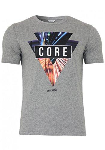 Jack & Jones Herren T-Shirt mit Rundhalsausschnitt | kurzarm Sport Clubwear Freizeit Light Grey Melange