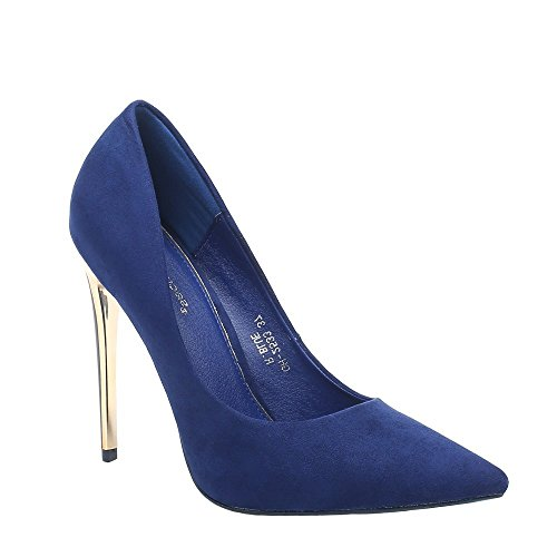 Jeane Daim Pointus Bleu à Bout Ideal Shoes Escarpins Effet qFwpv6