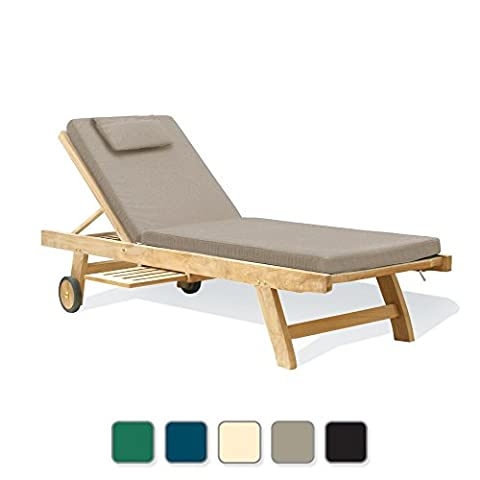 Sun Lounger with Cushion from a choice of up to 5 different colour variations - Jati Brand, Quality & Value (Beige)