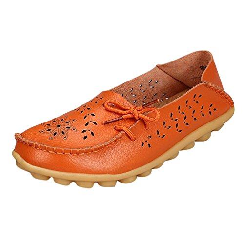 Heheja Damen Hohl Flache Schuhe Low-top Freizeit Loafers Casual Mokassin Orange