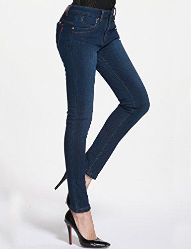 Camii Mia Damen Winter Slim Fit Fleece Jean Blau