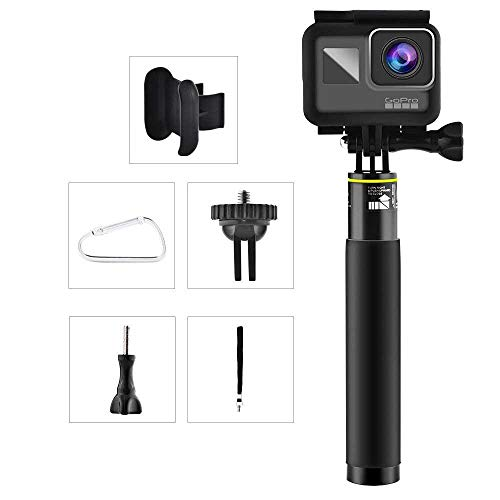 FOONEE 18-80CM Erweiterbar GoPro Wasserdicht Selfie Stick mit Remote-Clip Aluminiumlegierung Gopro Zubehör für GoPro Hero 7, Hero 6, Hero 5, 4, Session, 3+, 3, 2,Kompaktkameras