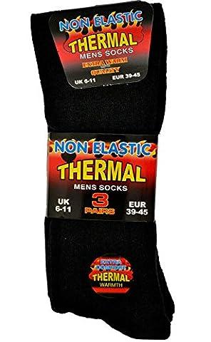 3 paires de chaussettes thermiques pour homme, noir, 6 - 11