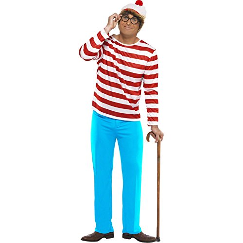 Smiffys, Herren Wo ist Walter-Kostüm, Oberteil, Hose, Brille und Mütze, Where´s Wally, Größe: L, (Waldo Kostüme Erwachsene)