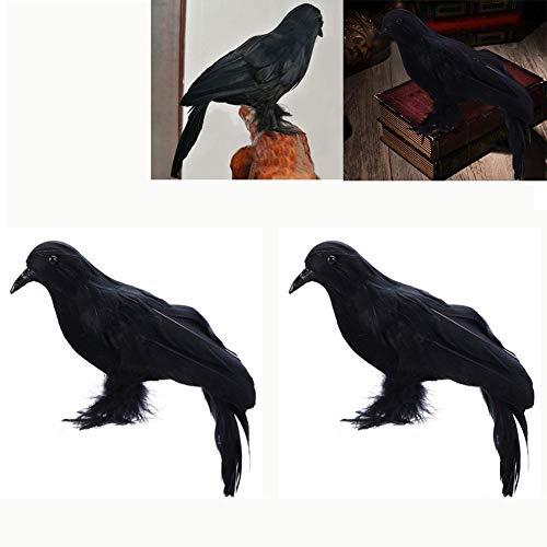 Halloween Schwarz Gefiederte Krähe Realistische Künstliche Vogel Rabe Prop Figur Statue Modell Tier Ornamente Kunst und Handwerk Halloween Party Dekorationen