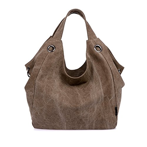 witery Damen Vintage Canvas Tote Bag Handtasche Shopping Bag Schulter Tasche Handtasche, Kaffee (Coffee) - CLOA0019-01